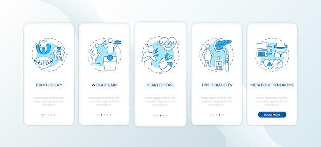 Energiedrankjes negatieve effecten op het scherm van de mobiele app-pagina met concepten
