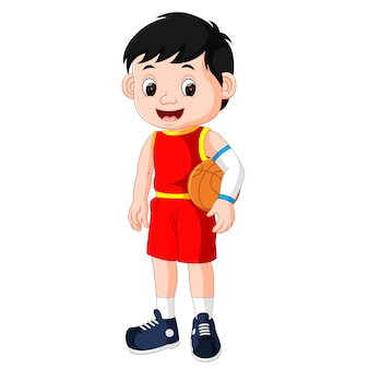 Energiek jongeman basketbal spelen
