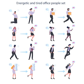 Energieke en uitgeputte zakelijke man en vrouw set. moe en vol energiezakenmensen. professionele burn-out of productiviteit en enthousiasme.