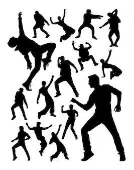 Energieke moderne danseres activiteit silhouetten.