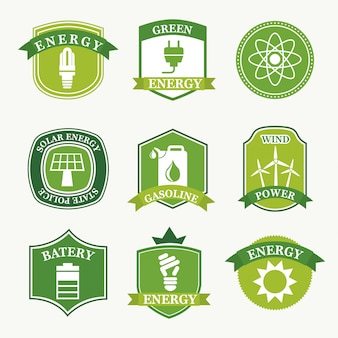 Energielabels over groene achtergrond vectorillustratie