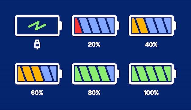 Energieniveau icoon. laadbelasting, batterij-indicator van de telefoon, energieniveau van de smartphone, lege accu-energie en volledige statuspictogrammen ingesteld.