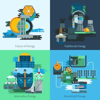 Energieproductie flat set