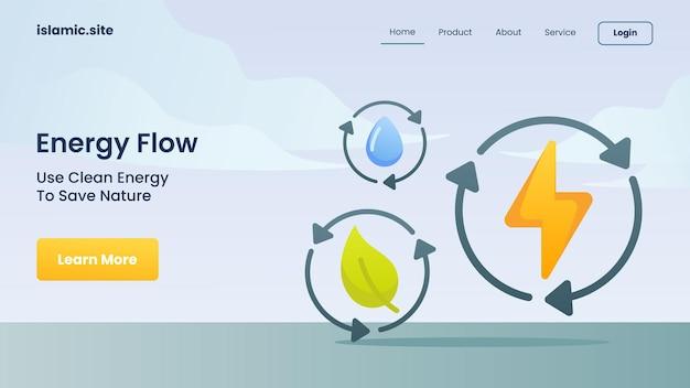 Energiestroom gebruikt schone energie om de natuur te redden voor de landingshomepage van de websitesjabloon, platte geïsoleerde achtergrond vectorontwerpillustratie