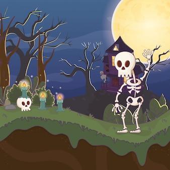Eng huis halloween van de skelet het golvende hand