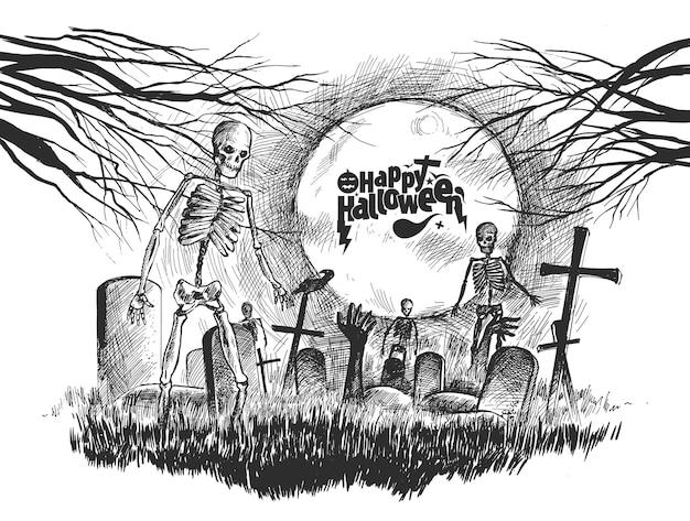 Eng kerkhof met menselijke schedel halloween-achtergrond