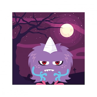 Eng monster in halloween-nacht, boos monster
