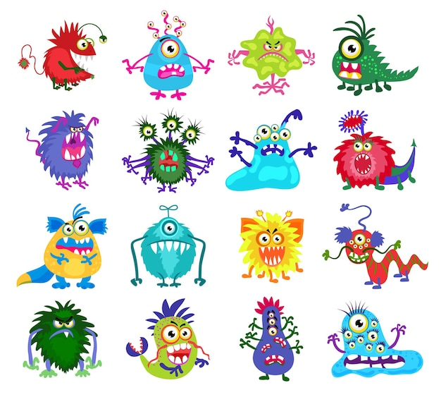 Eng monster. set gekleurde monsters met tanden en ogen, illustratie van grappige monsters
