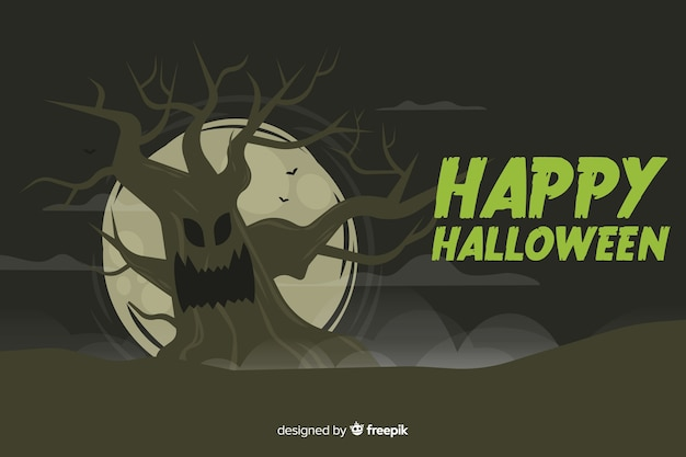 Enge boom halloween-achtergrond in vlak ontwerp