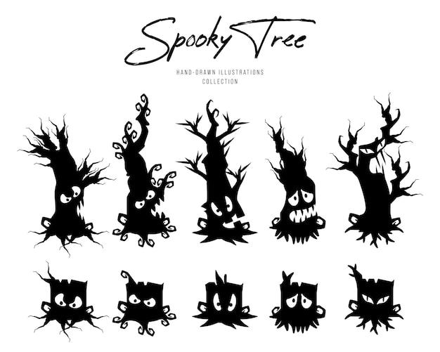Enge boom voor halloween, silhouet karakter illustratie.