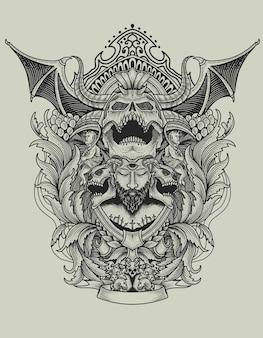 Enge duivelse schedel met vintage gravure ornamentstijl