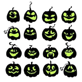 Enge en grappige halloween-pompoenen zwarte silhouetten van pompoenen met groene gezichten