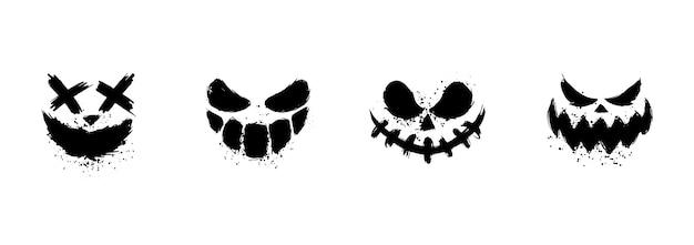 Enge gezichten van halloween-pompoen of spook.
