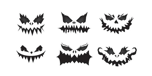 Enge gezichten van halloween-pompoen- of spookset