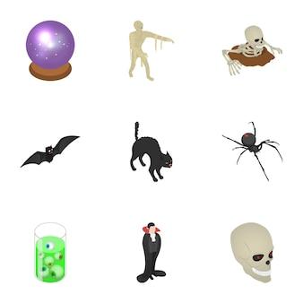 Enge halloween icon set, isometrische stijl