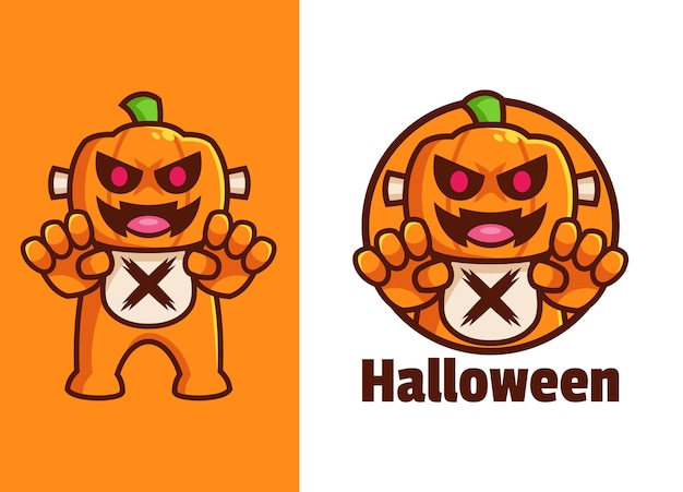 Enge halloween pompoen cartoon karakter logo ontwerp