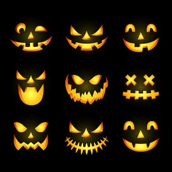 Enge halloween pompoen gezicht pictogram