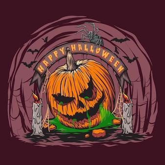 Enge halloween-pompoenhoofd met het kleuren
