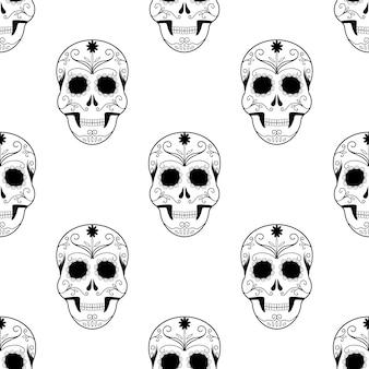 Enge naadloze het patroon enge schedels van halloween.
