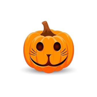 Enge oranje pompoen met kattengezicht voor uw ontwerp voor de vakantie halloween