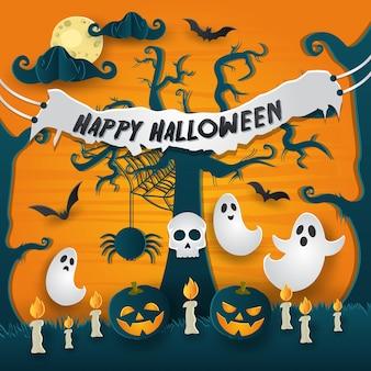 Enge paper art style happy halloween card