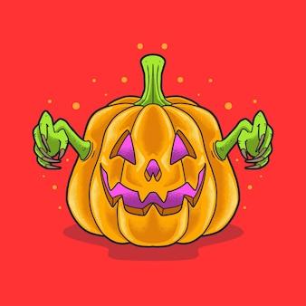 Enge pompoen groeten halloween illustratie