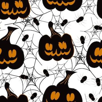 Enge pompoenen met spinnen op spinnenweb naadloze patroon halloween handgetekende tekenen vector