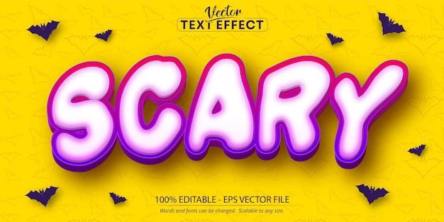 Enge tekst, halloween en cartoonstijl bewerkbaar teksteffect op gele kleur vleermuispatroon gestructureerde achtergrond
