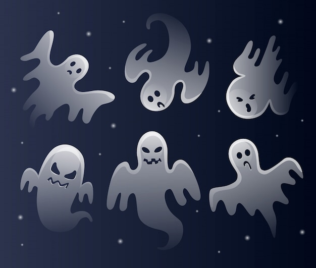 Enge witte geesten. halloween feest. spookachtig monster met enge gezichtsvorm.