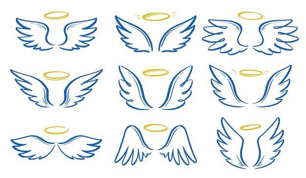 Engel doodle vleugel en halo set. hand getrokken schets stijl vleugel. engel, liefde, religie concept vectorillustratie. potlood lijntekening.