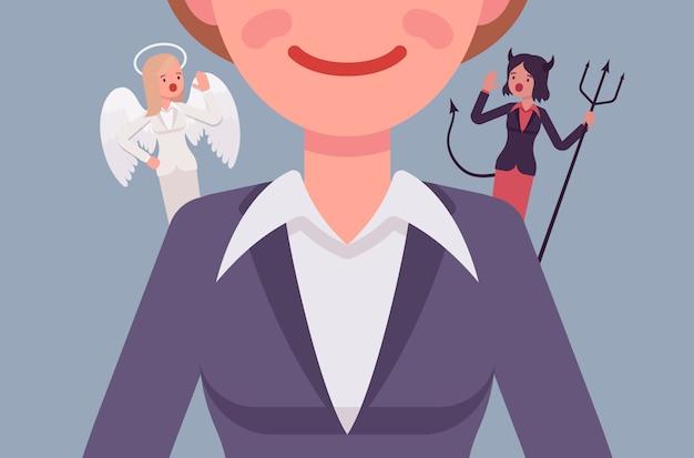 Engel en duivel op de schouders van de vrouw