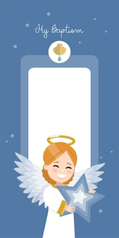 Engel met een blauwe ster. de verticale uitnodiging van het doopsel op een donkere hemel en sterrenuitnodiging. vlakke afbeelding
