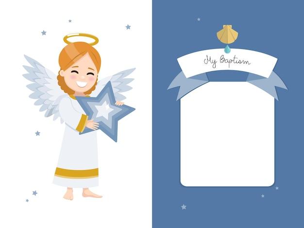 Engel met een blauwe ster. doopsel horizontale uitnodiging op een donkere hemel en sterrenuitnodiging.