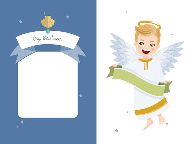 Engel met lint. doopsel horizontale uitnodiging op blauwe hemel en sterren uitnodiging.