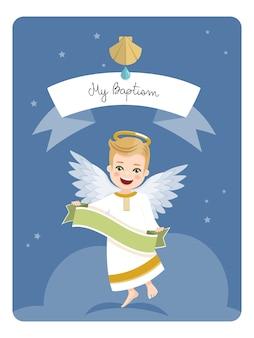 Engel met lint. doopselherinnering op blauwe hemel en sterren. flat vector illustratie