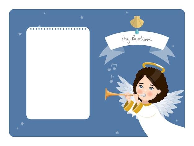 Engel speelt de trompet. mijn doopsel horizontale uitnodiging op blauwe hemel en sterren. flat vector illustratie