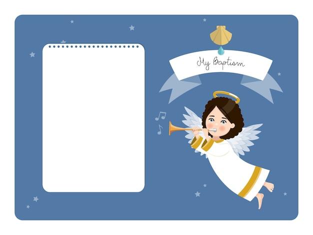 Engel speelt de trompet. mijn horizontale doopuitnodiging met bericht. flat vector illustratie