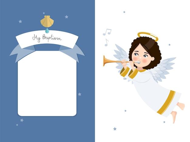Engel speelt de trompet. mijn horizontale uitnodiging van het doopsel op blauwe hemel en sterrenuitnodiging.