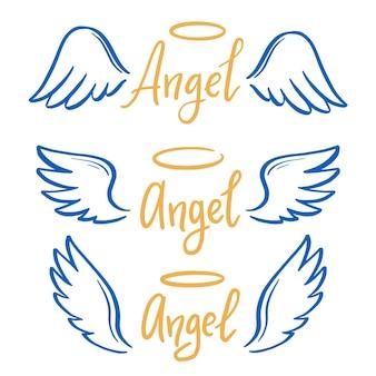 Engel vleugel met halo en engel belettering tekst set. hand getrokken lijn schets stijl vleugel. eenvoudige vectorillustratie.