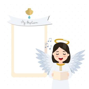 Engel zingen op de voorgrond. doopseluitnodiging met bericht. vlakke afbeelding