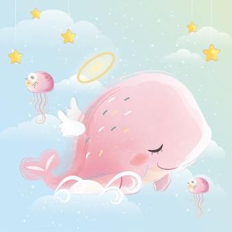 Engelachtige roze walvis vliegt in de lucht