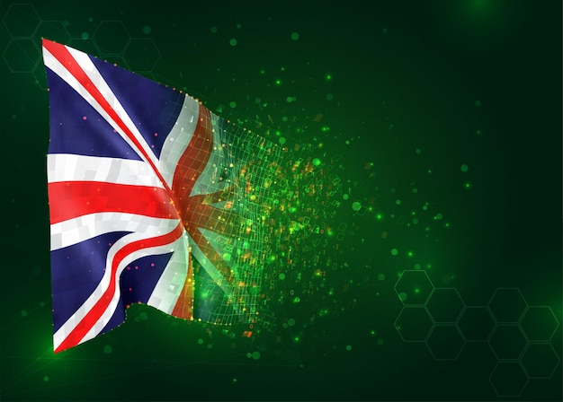 Engeland, 3d vlag op groene achtergrond met polygonen