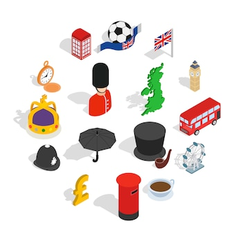 Engeland iconen set, isometrische 3d-stijl