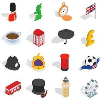 Engeland pictogrammen instellen in isometrische 3d-stijl. de vastgestelde inzameling van londen geïsoleerde vectorillustratie