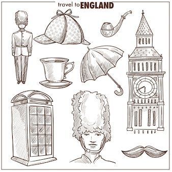 Engeland reizen toerisme vector schets symbolen