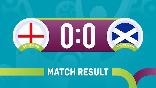 Engeland schotland wedstrijdresultaat, europees voetbalkampioenschap 2020 illustratie.