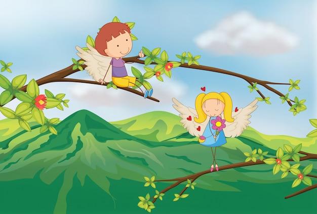 Engelen aan de tak van een boom