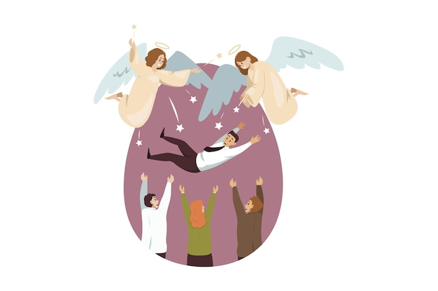 Engelen bijbelse karakters die zich verheugen voor een team van zakenmensen, vrouwelijke managers