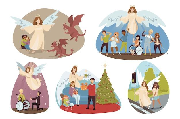 Engelen bijbelse religieuze karakters die gehandicapten beschermen