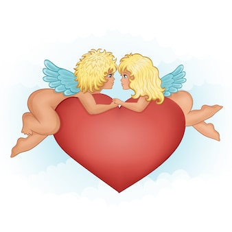 Engelenmeisje en jongen het kussen holdingshanden